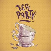 Tea party invitation card with a Cups and Pot — Stock Vector
