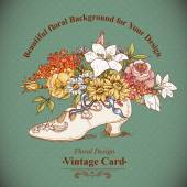 Vintage Background with Flowers and Shoes — Stock Vector