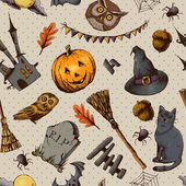 Vintage Hand drawn Halloween Seamless Background — Stock Vector
