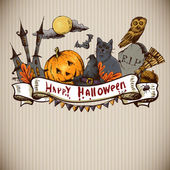 Hand-drawn Halloween Invitation Card — Stock Vector