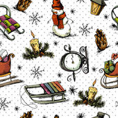 Рисованный рождественские бесшовный фон — Cтоковый вектор