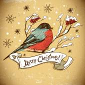 Christmas Greeting Card with bullfinches — Stock Vector
