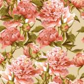 Seamless watercolor background with pink peonies — Stock Photo