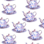 Seamless watercolor background with teapots — Стоковое фото