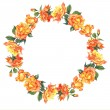 Watercolor Round Frame with Yellow Roses — Stock Photo #55632807