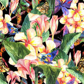 Tropical seamless pattern with exotic flowers — Foto de Stock