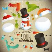 Create your snowman. Set of elements for collage — Vecteur