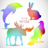 Geometric silhouettes of animals, dolphin, rabbit — Stock Vector