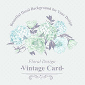 Gentle Blue Vintage Floral Greeting Card — Stock vektor