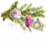 Christmas Watercolor Card with Sprig of Fir Trees — Stock Photo