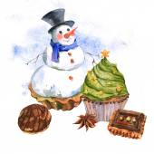New Year Card with Snowman Cupcakes — Stockfoto