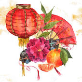 Watercolor Background Chinese New Year Element — Stockfoto