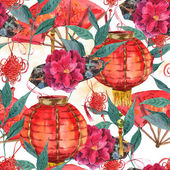 Seamless Watercolor Chinese New Year Background — Stock Photo