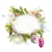 Christmas Watercolor with Sprig of Fir Trees — Stock Photo