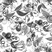 Floral Monochrome Seamless Background — Vettoriale Stock