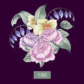 Vintage floral bouquet, botanical greeting card — Stock Vector