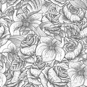 Seamless Monochrome Floral Pattern with Roses — Stock Vector