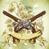 Vintage card with a gun and flowers — Stok Vektör