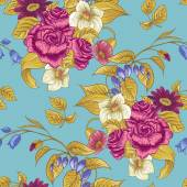 Seamless Floral Pattern with Roses and Wildflowers — Stock Vector