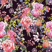 Seamless Floral Watercolor Background — Zdjęcie stockowe