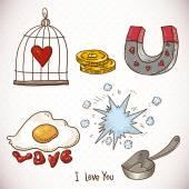 Doodle set elements of Valentines Day — 图库矢量图片