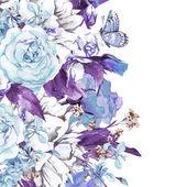 Modrý jemný Vintage květinový přání — Stock fotografie