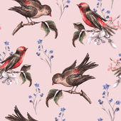 Vintage Floral Seamless Background with Birds — Stock Vector