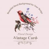 Vintage Floral Card with Bird on Branch — Stockvector