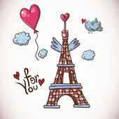 Vintage Card with Eiffel Tower and Heart — Stock Vector