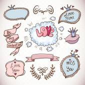 Doodle cartoon love collection — Stock Vector