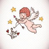 Grußkarte mit Cartoon Cupid Gekritzel — Stockvektor