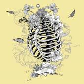 Skeleton Ribs and Flowers, Vector illustration — Wektor stockowy