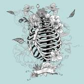Skeleton Ribs and Flowers, Vector illustration — Vector de stock