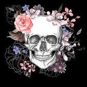 Cranio e fiori il giorno dei morti — Vettoriale Stock