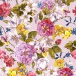Floral Vintage Seamless Watercolor Background — Stock Photo #68406599