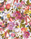 Floral Vintage Seamless Background with Bird — Stock Photo
