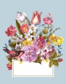 Spring Floral Retro Card in Vintage Style — Stockfoto