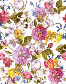 Floral Vintage Seamless Watercolor Background — Stock Photo