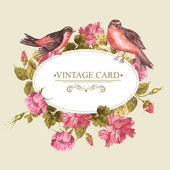Floral Bouquet with Roses and Bird, Vintage Card — Stockvektor