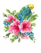 Exotic Vintage Card with Tropical Flowers, Parrots — Foto Stock