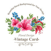 Vintage Pozvánka s borůvkami, růžový tropické květiny a listy — Stock vektor