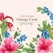 Invitation Vintage Card with Blueberries, Pink Tropical Flowers and Leaves — Stock Vector