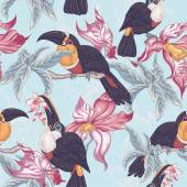 Tropical Seamless Background with Exotic Flowers and Toucan, — Vector de stock