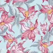 Tropical fondo transparente con flores exóticas — Vector de stock