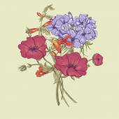 Douceur Retro Summer Floral Greeting Card, Vintage Bouquet, illustration vectorielle — Vecteur
