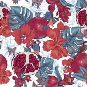 Fond sans couture vintage, fruits tropicaux, fleurs, papillons et oiseaux — Vecteur
