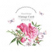 复古水彩贺卡与盛开的鲜花和蝴蝶 — 图库矢量图片