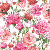 Lato bez szwu akwarela wzór różowe piwonie i róż na białym tle — Wektor stockowy
