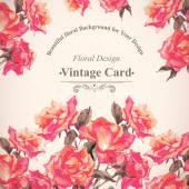 Vintage akvarel přání s kvetoucí červené růže — Stock vektor