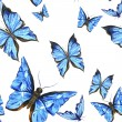 Beautiful blue summer watercolor butterflies on a white background, seamless pattern — Stock Photo #78432394